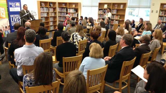 The grant announcement is made at Tanglewood Middle. (Sept. 23, 2014/FOX Carolina)