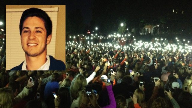 Tucker Hipps is remembered with a vigil on Bowman Field. (Sept. 23, 2014/FOX Carolina and CNN iReport)