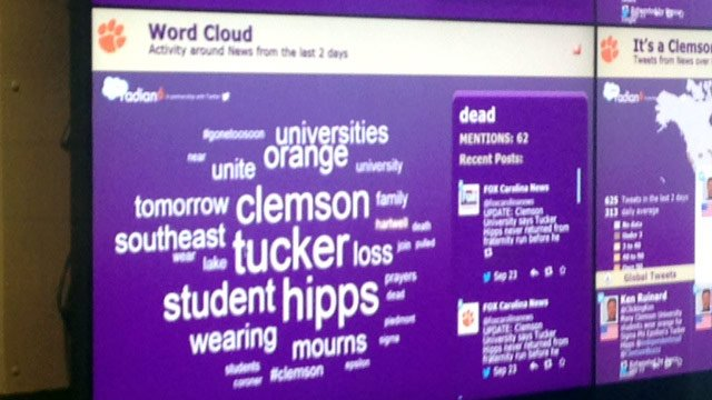 Clemson's Social Media Listening Center saw a large spike in social media traffic in the wake of Tucker Hipps death. (Sept. 23, 2014/FOX Carolina)