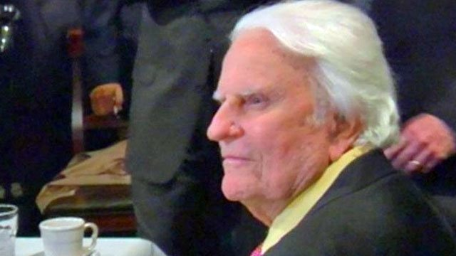 Evangelist Billy Graham receives guests at his facility in Charlotte. (File/FOX Carolina)