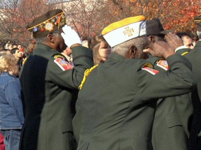 Veterans salute the flag at a ceremony. (File/FOX Carolina)