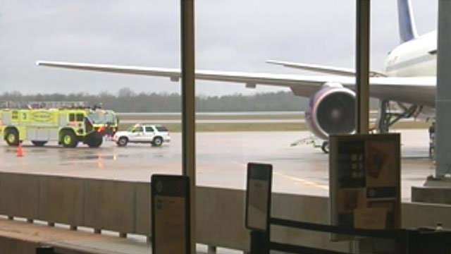 An airplane is parked at a gate at the Greenville-Spartanburg International Airport. (File/FOX Carolina)