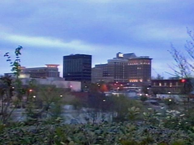 The skyline of downtown Greenville is viewed from the Camperdown Way bridge. (File/FOX Carolina)