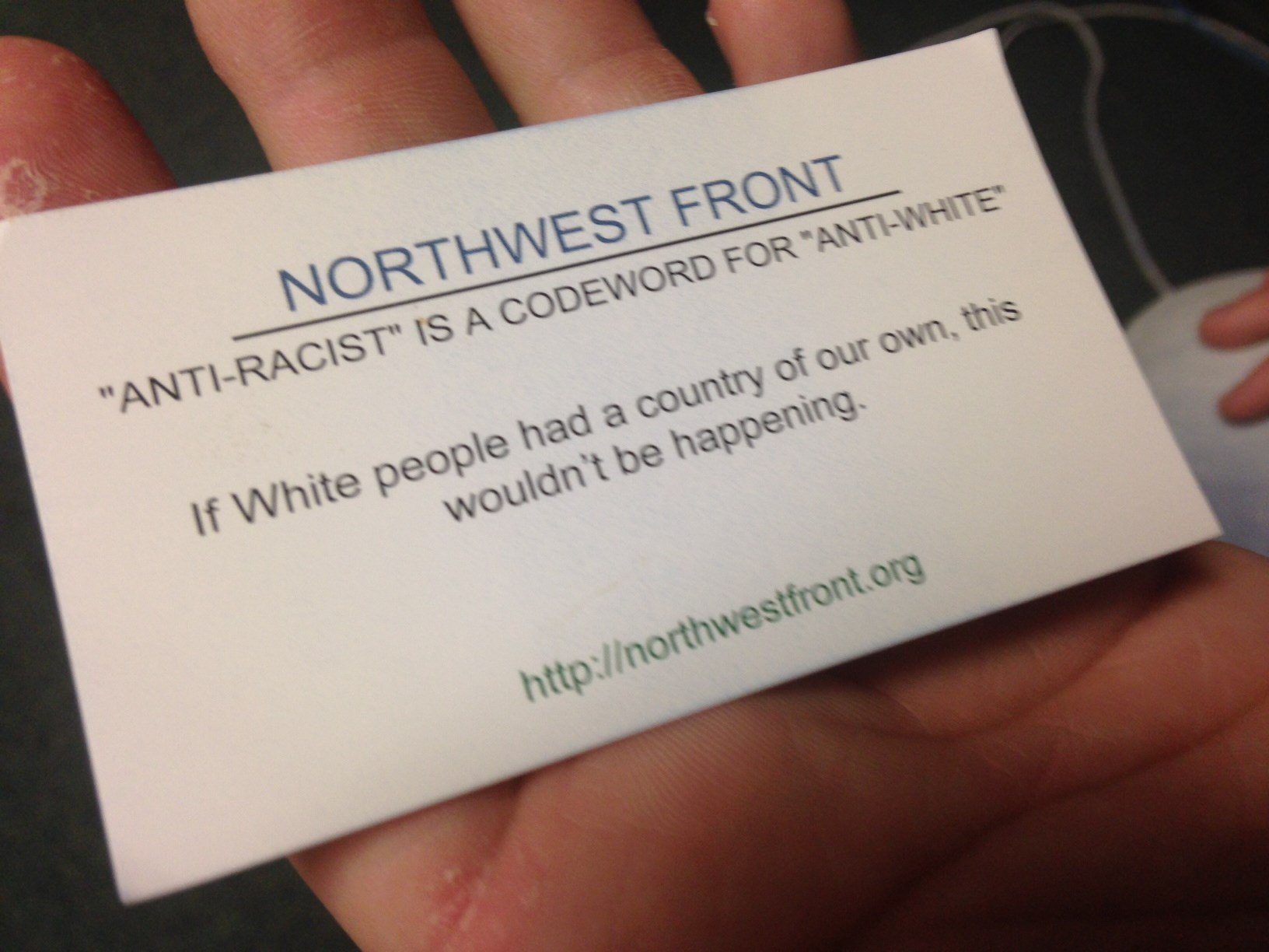 A Greenville County man says he received this business card for Northwest Front in the mail. (Oct. 2, 2014/FOX Carolina)