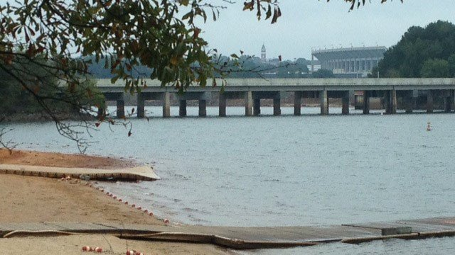 The Highway 93 bridge that crosses over Lake Hartwell and the Seneca River in Clemson. (Oct. 3, 2014/FOX Carolina)