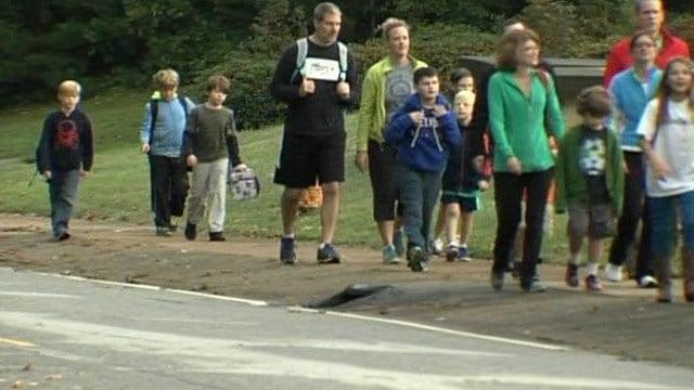 Students walk to Pelham Road Elementary. (Oct. 8, 2014/FOX Carolina)