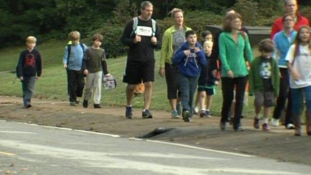 Students walk to Pelham Road Elementary. (Oct. 8, 2014/FOX Carolina)