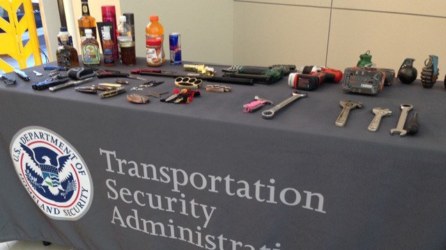 Weapons and other surrendered items on display. (Oct. 22, 2014/FOX Carolina)