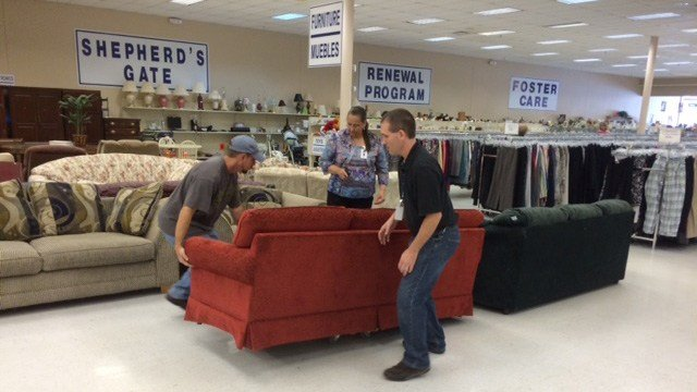 greenville la z boy store collects furniture for charity