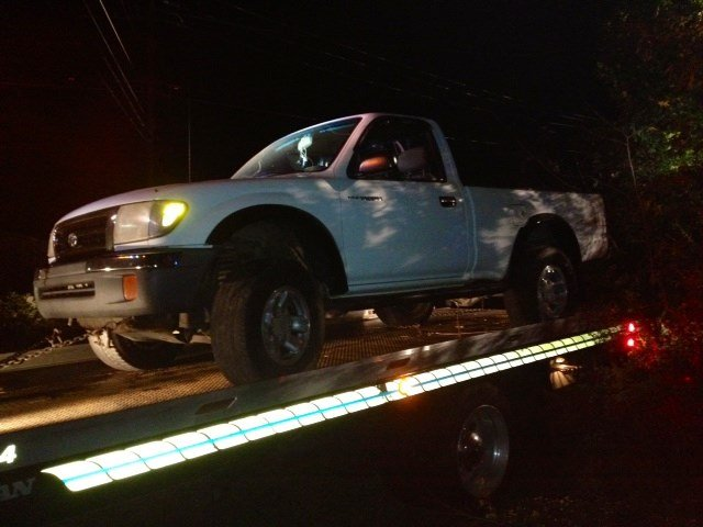Troopers said this pickup truck went over a guardrail. (Oct. 23, 2014/FOX Carolina)