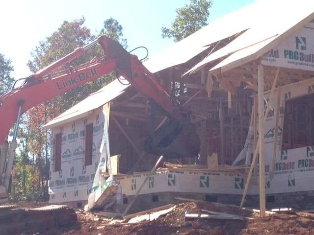 The damaged Inman home under construction. (Oct. 27, 2014/FOX Carolina)