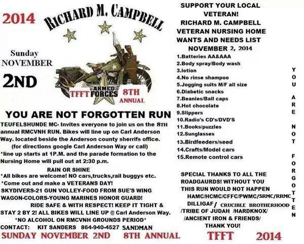 Flyer for the Anderson veteran motorcycle ride. (Source: Teufelshunde MC/Facebook)