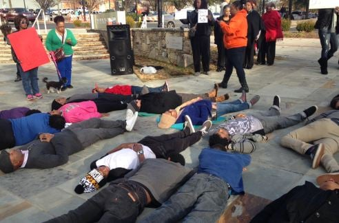"Protesters hold ""Die-In"" in downtown Greenville (FOX Carolina)"