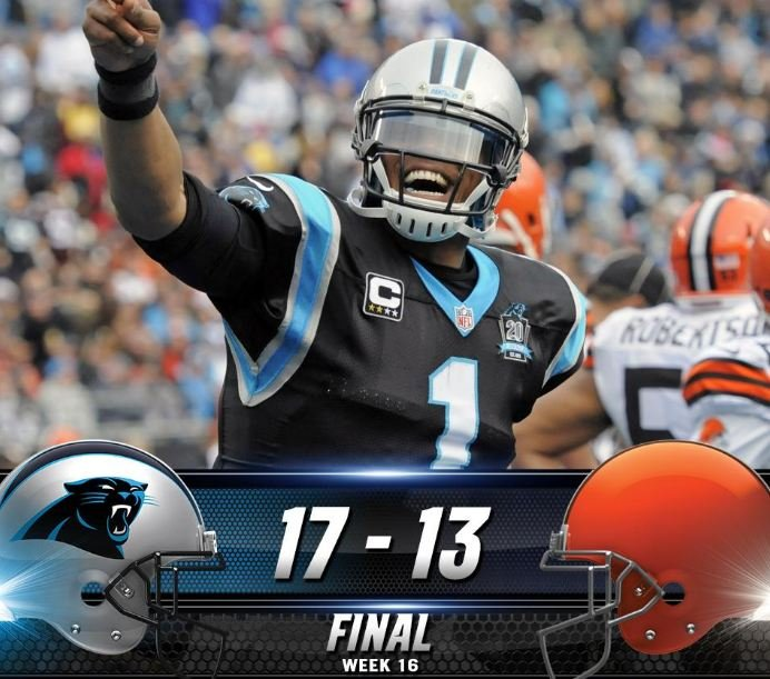 Panthers beat Browns 17-13, move into first place