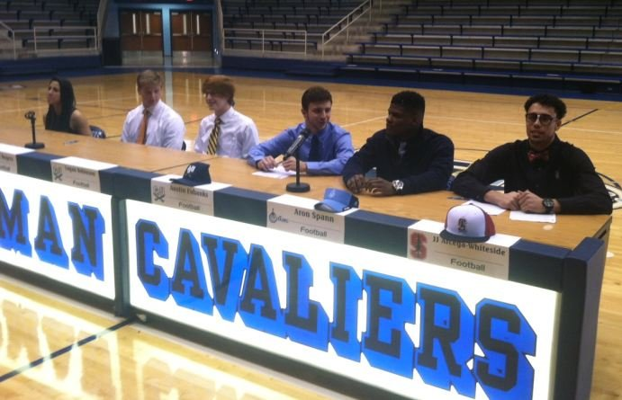 From left: Cassandra Pankey, Wyatt Rogers, Logan Robinson, Football, Austin Eubanks, Aron Spann, J.J. Arcega-Whiteside (FOX Carolina)