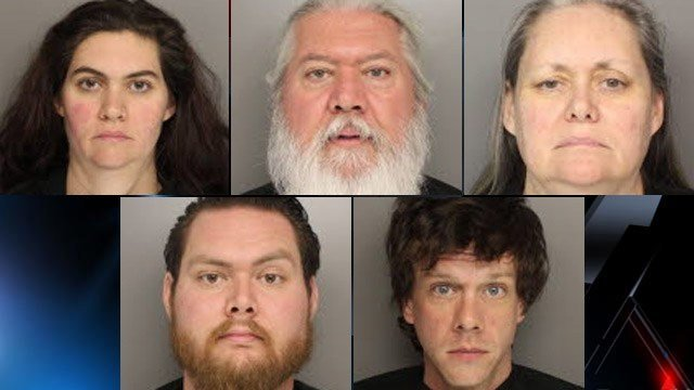 From Top-Left to Bottom-Right: Jane Hughes, John Hughes, Margaret Hughes, Jacob Hughes and Andrew Martin (Source: Greenville Co. Detention Center)