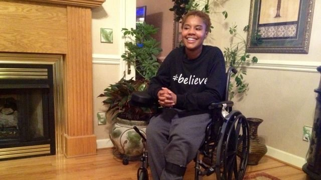 Monica Landrum survives fiery car wreck. (Source: Landrum family/ March 9, 2015)