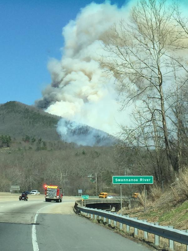 The smoke was seen from I-40 near Black Mountain. (Source: @eslangston/Twitter)