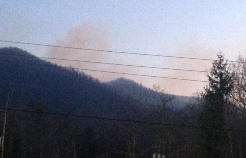 Smoke from the fire could still be seen from the staging area Wednesday morning (FOX Carolina)