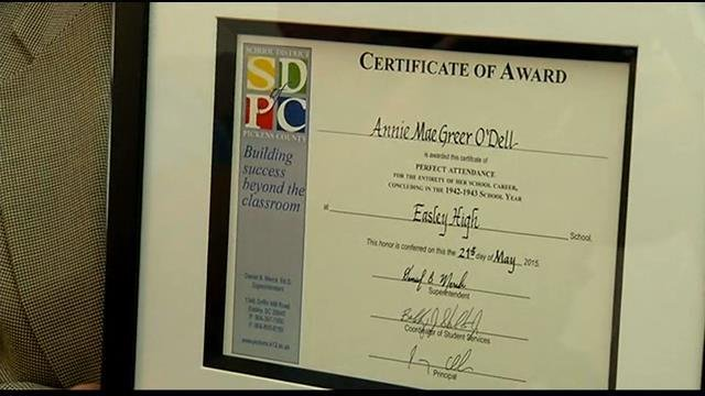 Pickens Co. woman, 88, finally recognized for perfect attendance - FOX ...