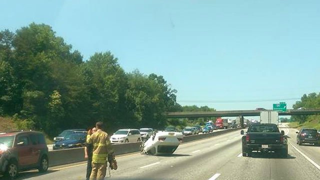 Overturned car on i 85s causes traffic problems in for Motor mile greenville sc