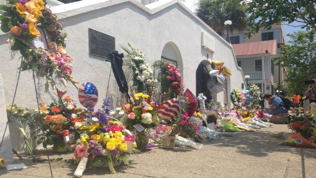 Memorial outside Emanuel AME Church in Charleston, SC (FOX Carolina)
