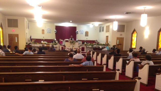 The prayer vigil was held at New Faith Baptist Church. (June 27, 2015