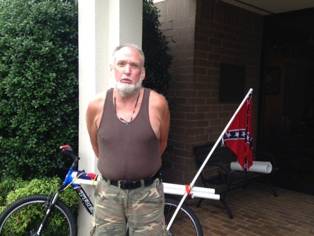 Timothy, a KKK member, rides through the Upstate promoting rebel flag (FOX Carolina)