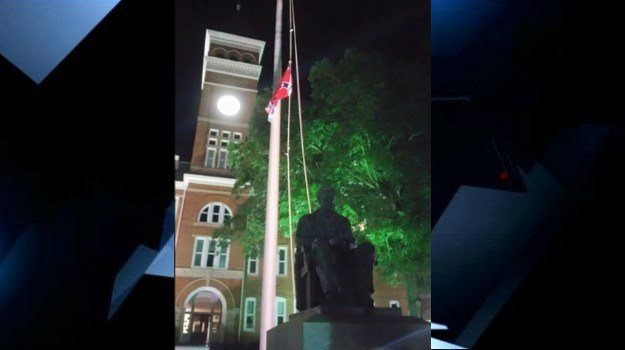 A Confederate flag was hung in front of Clemson University's Tillman Hall sometime Monday night. (July 6, 2015/FOX Carolina)