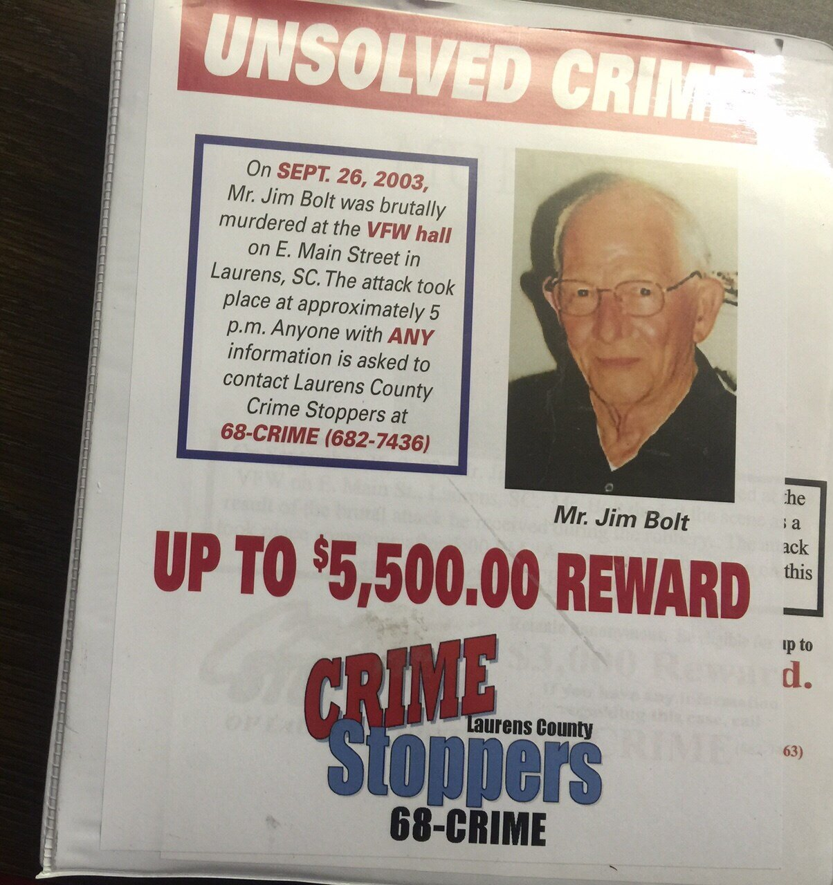 Reward flier in Jim Bolt homicide case (FOX Carolina/ July 8, 2015)