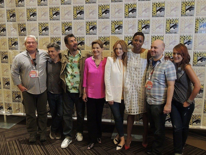 Cast of Archer. (LtoR) Adam Reed, Chris Parnell, Lucky Yates, Jessica Walter, Judy Greer, Aisha Tyler, Casey Willis, Amber Nash