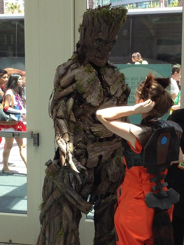 The girl in this Groot costume actually collapsed she got so hot. This was her getting setup for more photos.