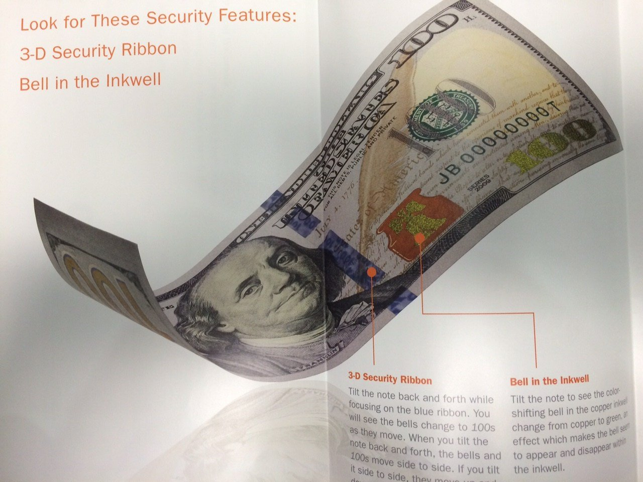 The Secret Service says to examine the security strip on bills for authenticity. (Source: Secret Service)