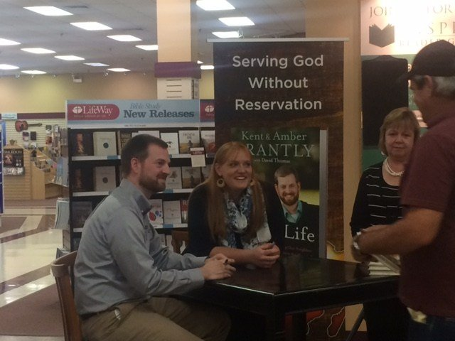 Kent and Amber Brantly at a book signing in Spartanburg.