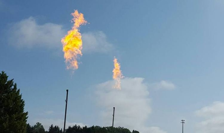 Flames shooting from flare stacks in Taylors (File photo)