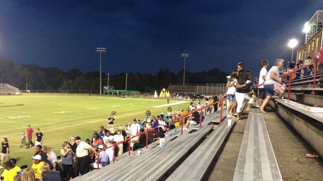 Dark skies over the Union High stadium. (Sept. 4, 2015/FOX Carolina)