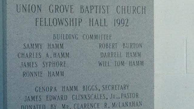 Genora Hamm Biggs name is etched on Union Grove Baptist Church (FOX Carolina/ Sept. 14, 2015)