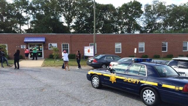 The scene outside of Fuller Normal School on Wednesday morning. (FOX Carolina 9/23/2015)
