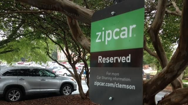 Zipcars have designated parking spaces around Clemson University. (FOX Carolina/ Sept. 29, 2015)