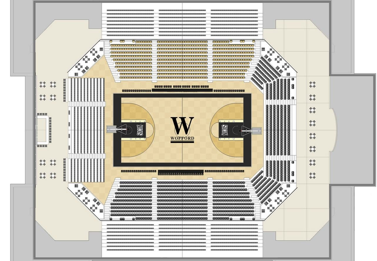 Wofford breaks ground on new indoor basketball arena for Basketball floor plan