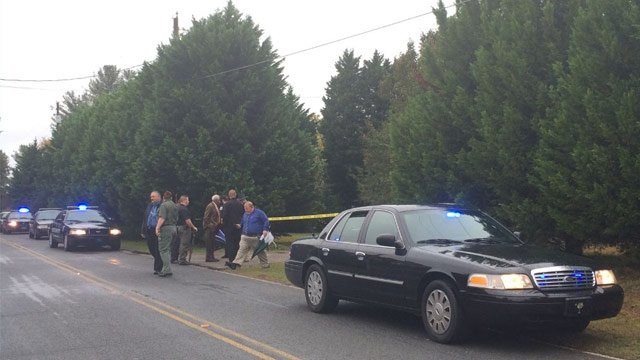 Anderson County deputies and the coroner were at the scene of a shooting in Pendleton on Monday. (FOX Carolina 11/2/2015)