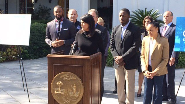 Governor Nikki Haley is pictured Monday at a press conference. (FOX Carolina 11/16/2015)