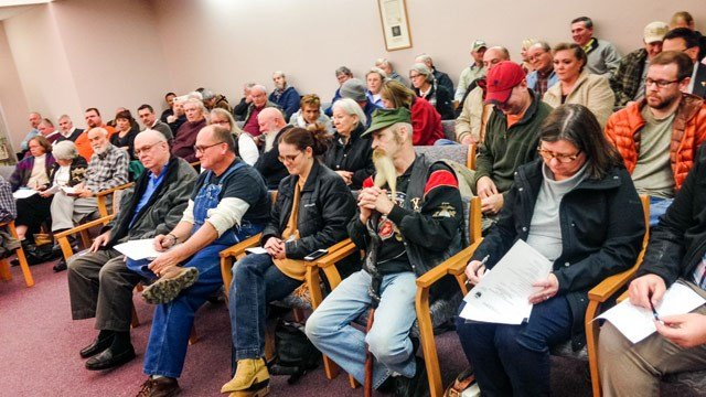 A crowd gathered as Pickens County Council members discussed a proposal to dump coal ash in a Pickens County landfill. (FOX Carolina 1/4/2015)