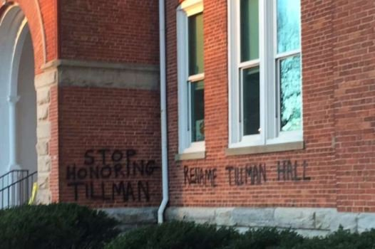 Graffiti on Tillman Hall (Jan. 7, 2016; Photo provided)