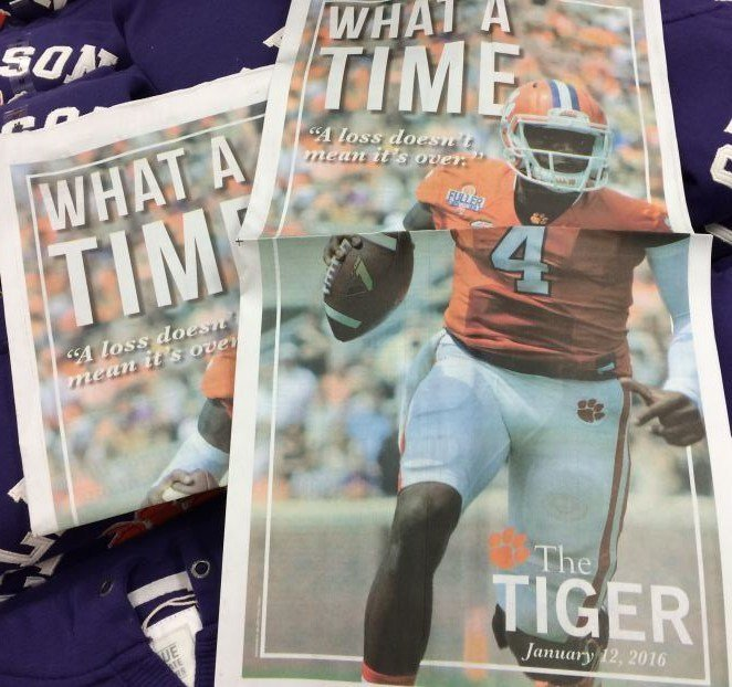 Cover of 'The Tiger' newspaper on Jan. 12, 2016 (FOX Carolina)