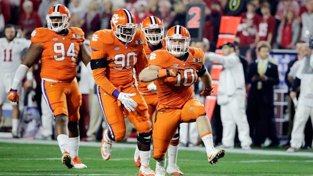 Clemson's Ben Boulware (10) celebrates during the first half of the NCAA college football playoff championship game against Alabama, Monday, Jan. 11, 2016, in Glendale, Ariz. (AP Photo/David J. Phillip)