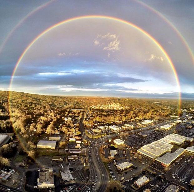 A rare full circle rainbow over Greenville. (Courtesy: Brad Hudson)