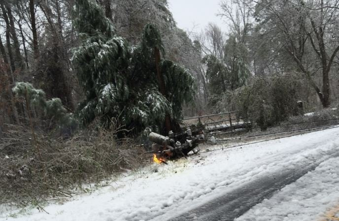 Downed utility pole sparks fire (Jan. 22, 2016/ Viewer photo)