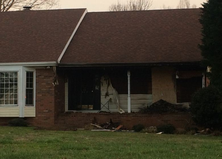 Family's home that caught fire. (Source: Fox Carolina)