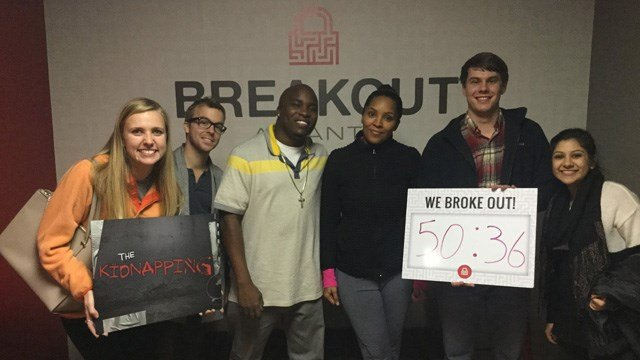 "Players escape ""The Kidnapping"" scenario in Breakout Atlanta. (Source: Facebook)"
